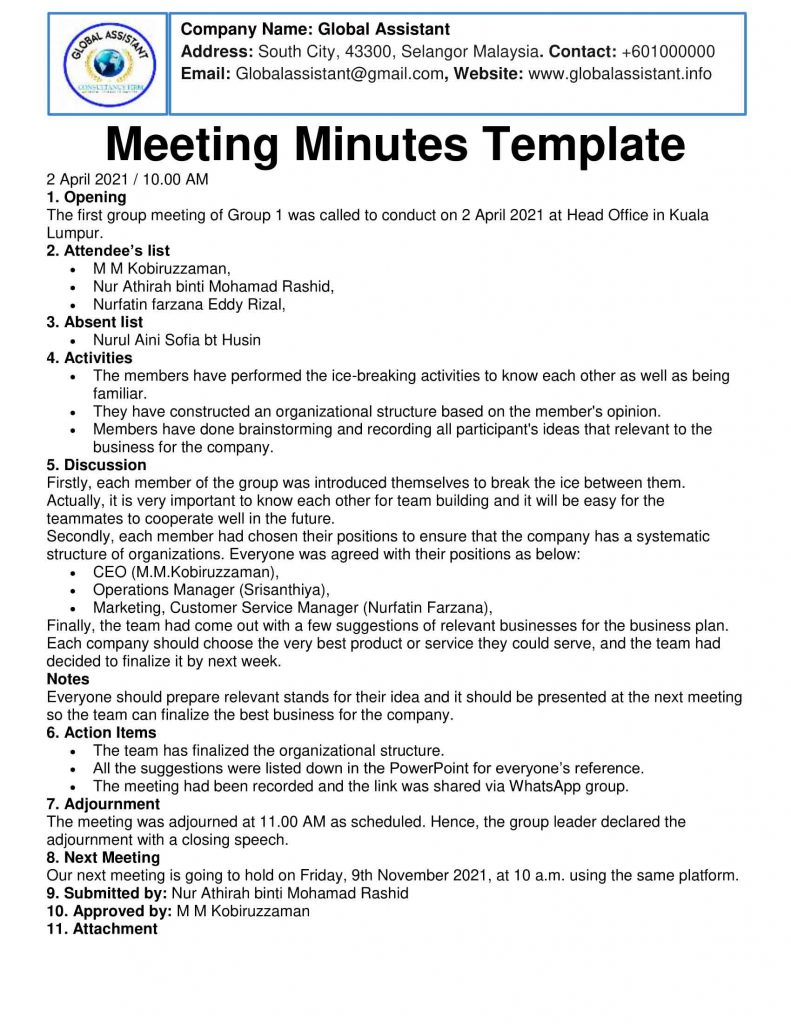 Meeting Minutes Template and Sample Word File
