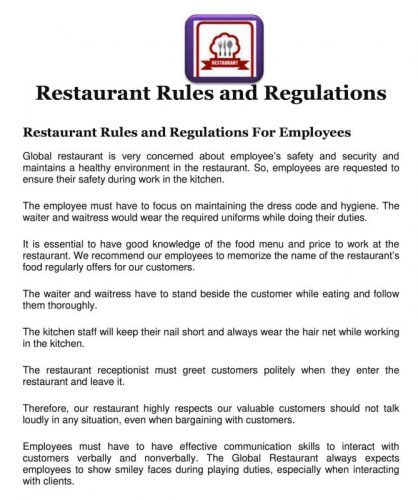 Restaurant Rules for Employees