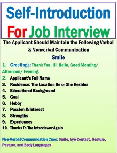 self-introduction sample for job interview example